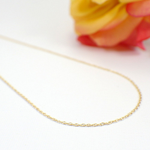 Thin double rope chain necklace gold filled 1mm