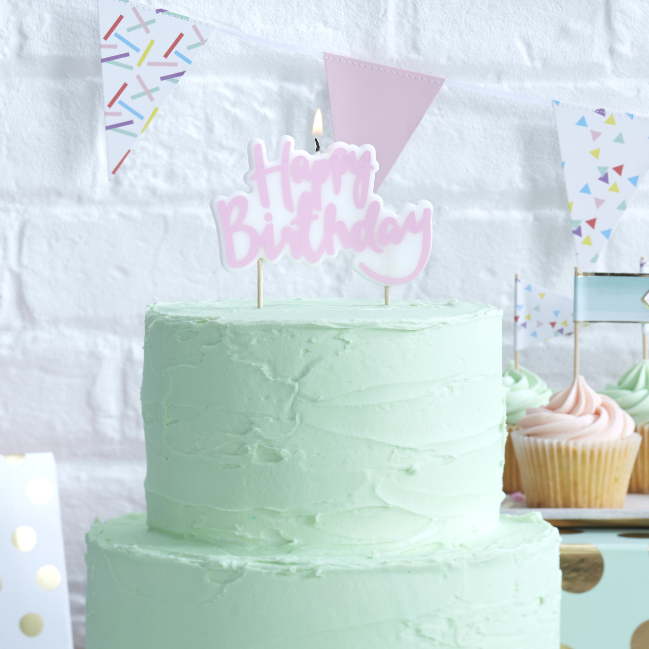 Outstanding Pastel Pink Happy Birthday Candle For Cakes Funny Birthday Cards Online Eattedamsfinfo