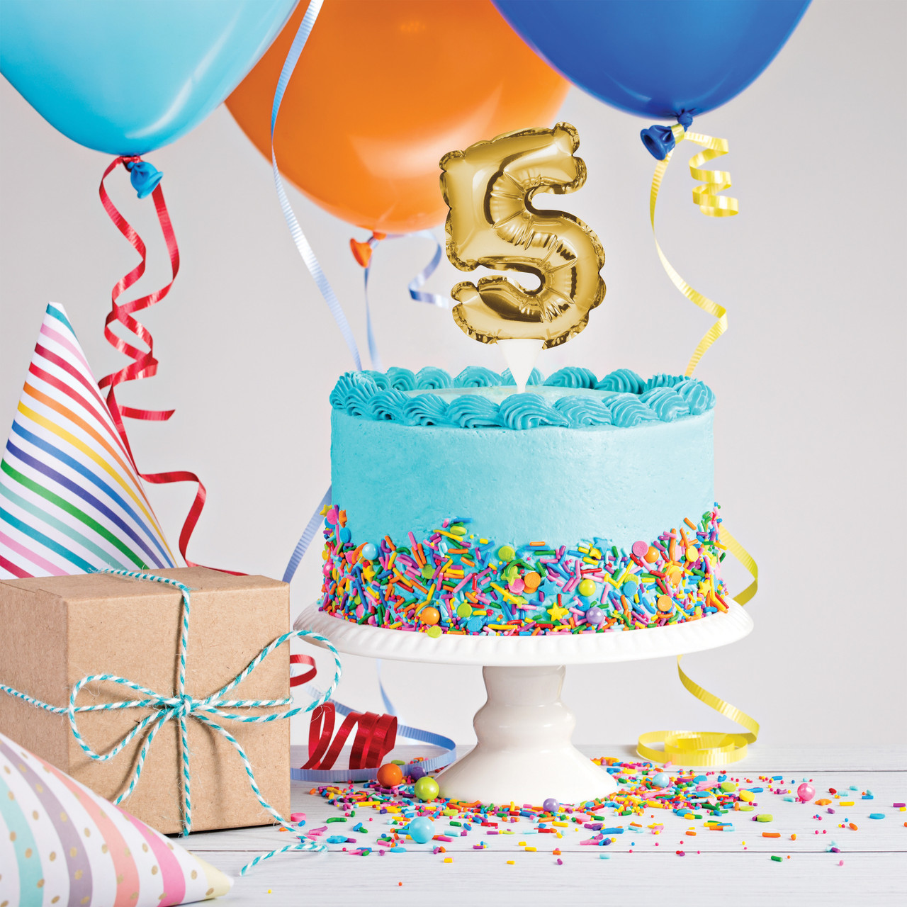 Awe Inspiring Gold Number 5 Balloon Cake Topper Personalised Birthday Cards Akebfashionlily Jamesorg