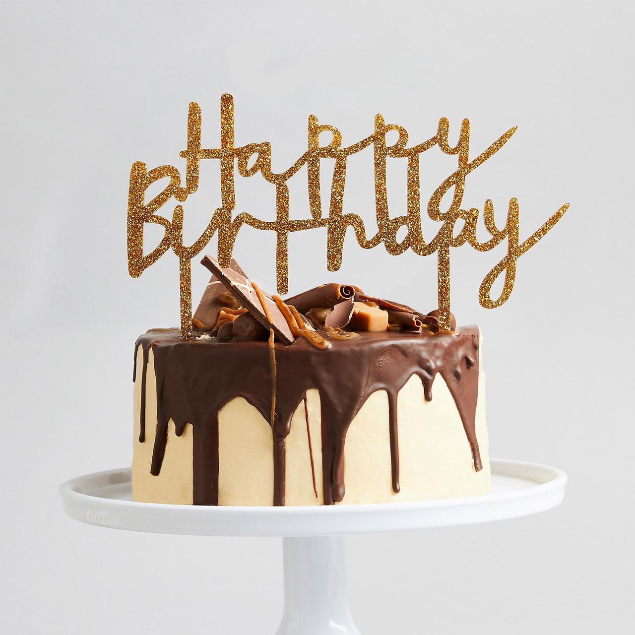 Outstanding Gold Glitter Happy Birthday Cake Topper Funny Birthday Cards Online Aeocydamsfinfo