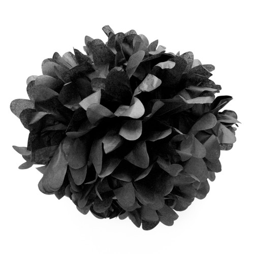 Black tissue paper pom pom decoration for birthday parties, weddings, hen dos and baby showers