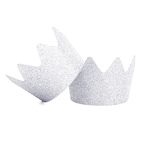 Silver Glitter Party Crowns for childrens birthday parties