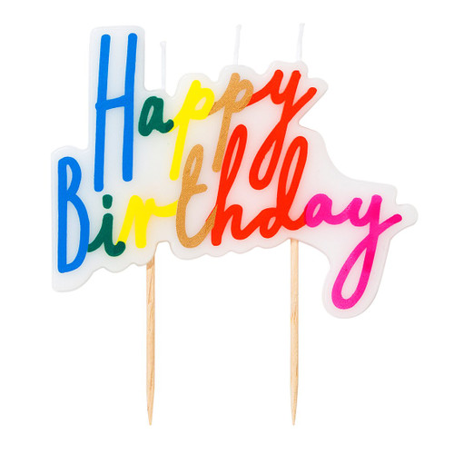 Rainbow script happy birthday cake candle for party cake topper