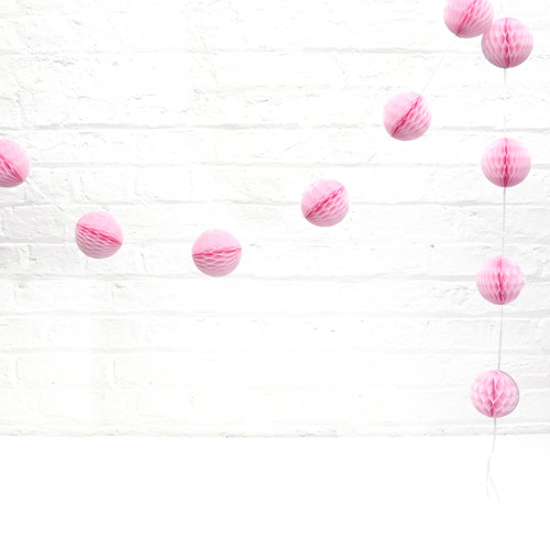 Mini Pink Honeycomb Ball Garland Decoration for Birthday Parties, Hen Dos, Baby Showers and Photo Booth Backdrops.