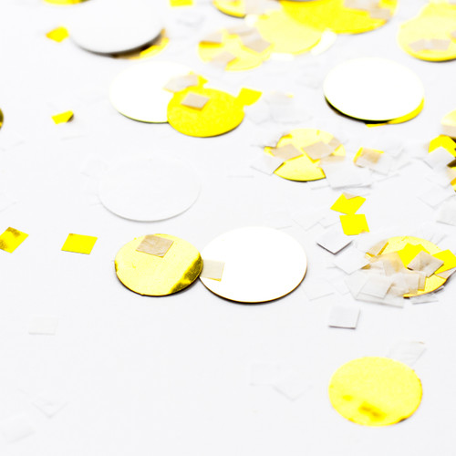 White and metallic gold shimmer tissue paper party confetti