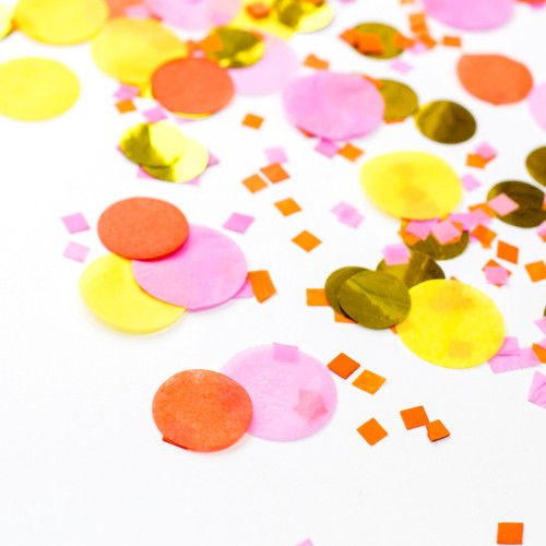 Sunshine orange, pink, yellow and gold mix tissue paper party confetti