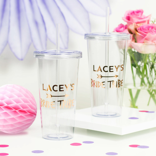 Personalised Bride Tribe Hen Party Drinks Tumbler Favour for Smoothies, Frappucinos and Juices