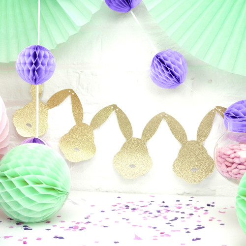 Glitter gold and silver bunny rabbit garland for spring and easter parties