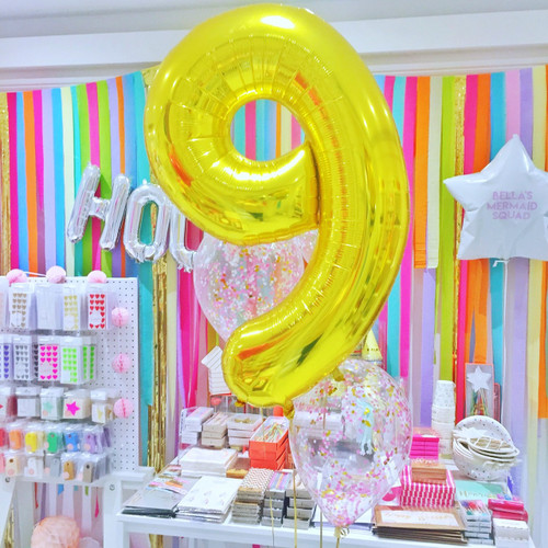 Gold Foil Helium Number Balloon for Birthdays and Anniversaries