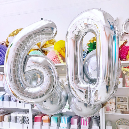 Silver Foil Helium Number Balloon for Birthdays and Anniversaries
