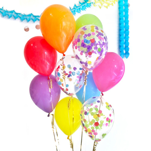 Rainbow party confetti balloons for birthday parties, summer parties and brightly coloured weddings