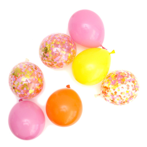 Pink, yellow and orange sunshine bright confetti balloons