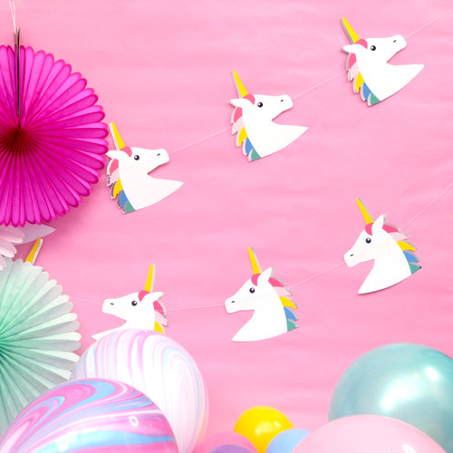 Rainbow unicorn garland decoration for pretty childrens parties and hen dos