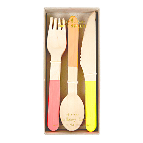 Neon Wooden Cutlery Set for Birthday Parties, Summer BBQs and Picnics