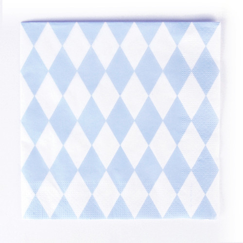 Light blue diamond print napkins for a birthday, baby shower or easter celebration