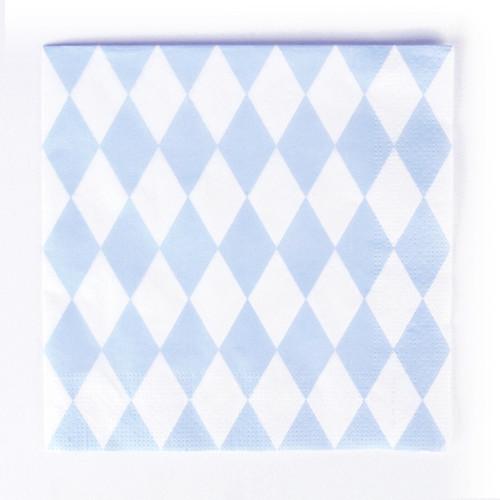 Light blue diamond print napkins for a birthday, baby shower or easter celebration