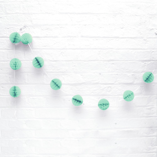 Mini Mint Green Honeycomb Ball Garland Decoration for Birthday Parties, Hen Dos, Baby Showers and Photo Booth Backdrops.