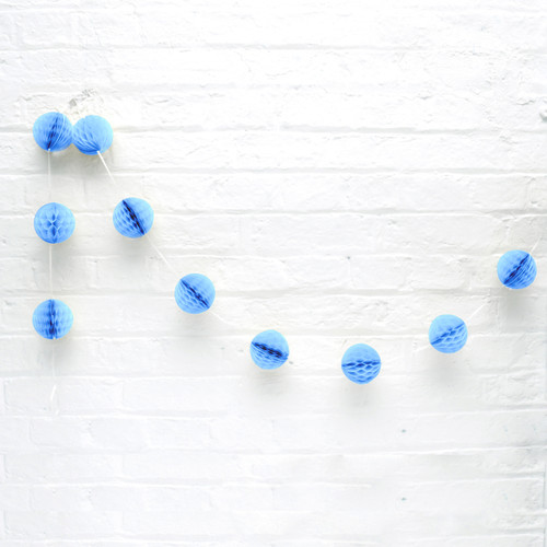Mini Light Blue Honeycomb Ball Garland Decoration for Birthday Parties, Hen Dos, Baby Showers and Photo Booth Backdrops.