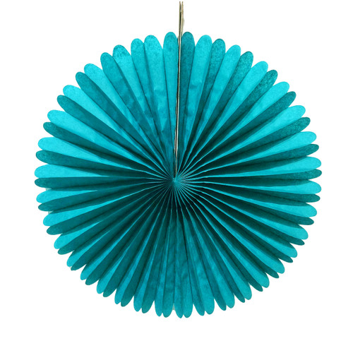 Teal Tissue Paper Fan Decoration for Birthday Parties, Weddings, Baby Showers and Hen Dos