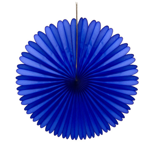 Dark Blue Tissue Paper Fan Decoration for Birthday Parties, Weddings, Baby Showers and Hen Dos