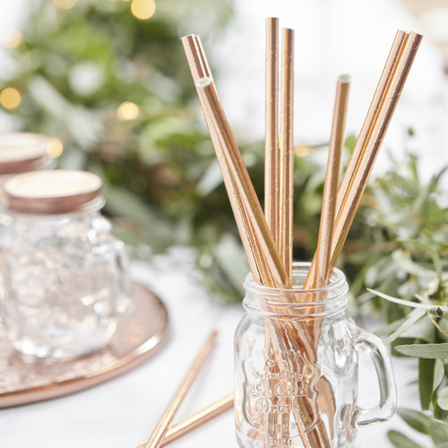 Metallic Rose Gold Party Straws