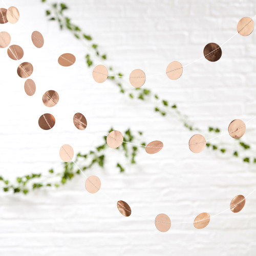 Rose gold confetti circle garland party decoration