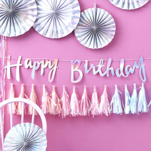 Iridescent Happy Birthday Script Bunting Decoration