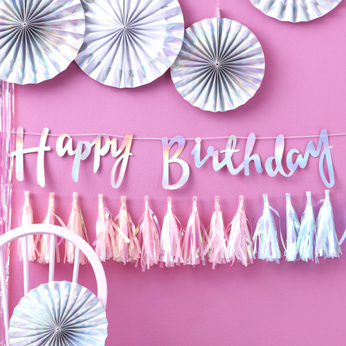 Iridescent Happy Birthday Script Bunting Decoration