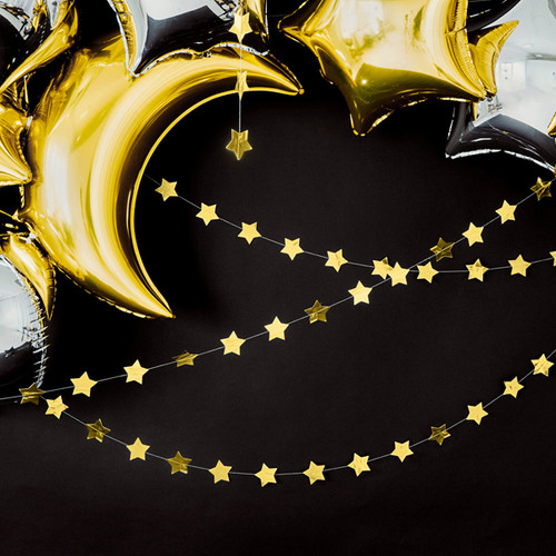Metallic gold star bunting garland decoration for gatsby themed celebrations, Christmas, New Years Eve or glam parties