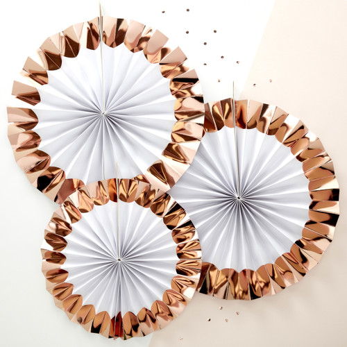 Rose gold paper fan decorations for baby showers, hen parties and Christmas