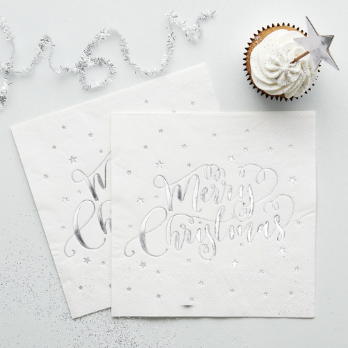 Silver Foiled Merry Christmas Party Napkins