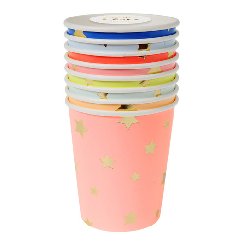 Star patterned paper party cups