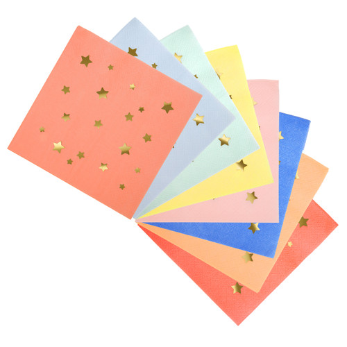 Gold Star print patterned paper party napkins