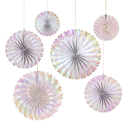 Iridescent pinwheel fan decoration set