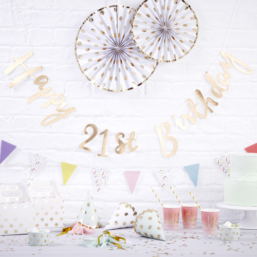 Gold Happy 21st Birthday Script Bunting Decoration