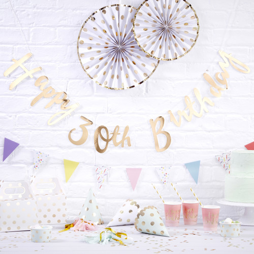 Gold Happy 30th Birthday Script Bunting Decoration