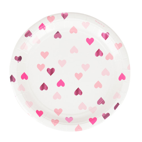 Love heart pink paper party plates