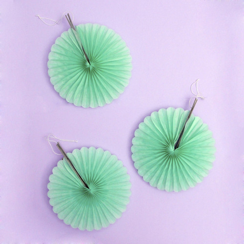 Mini mint paper fan decoration set of three for birthday parties, baby showers and garden parties