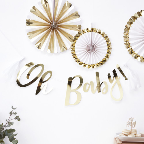 Gold Oh Baby Bunting for Baby Showers and Gender Reveals