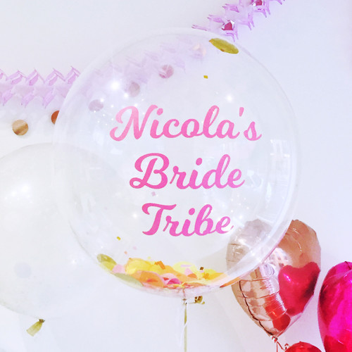 Personalised Hen Party Bubble Confetti Balloon for Hen dos or bridal showers