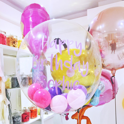Personalised Bubble balloon filled with balloons for birthday parties, hen dos and celebrations