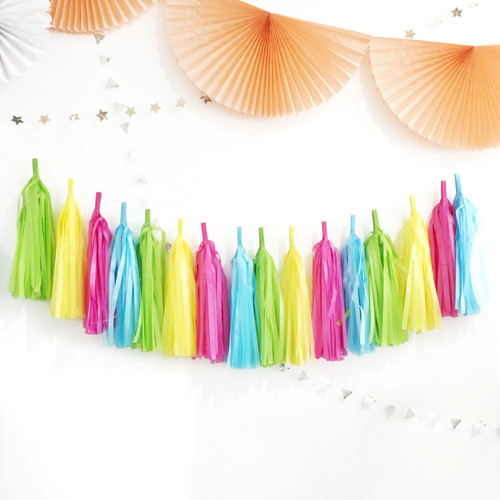 Tissue paper tassel garland party decoration for birthday parties and children's bedroom interior decor