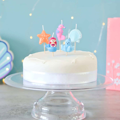 Under the sea themed birthday cake candles for mermaid and water themed childrens parties