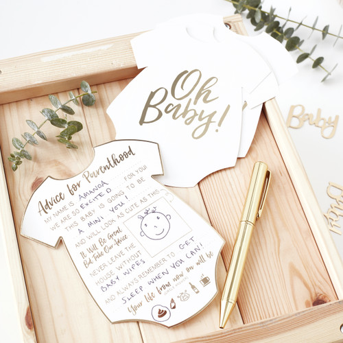 Baby shower advice cards for party games and fun keepsakes