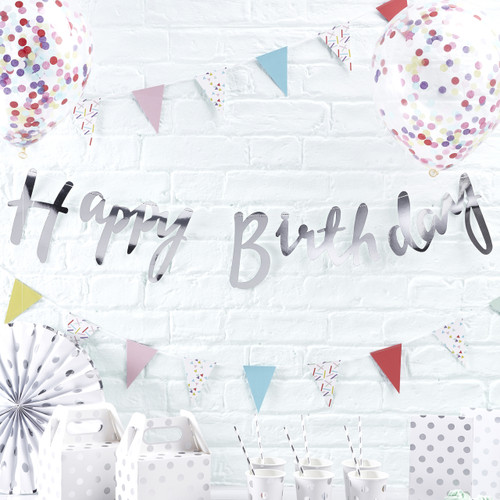 Silver Happy Birthday Script Bunting