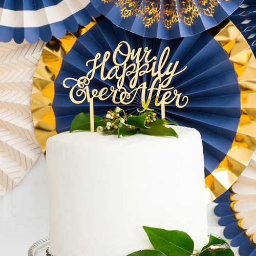 Happily Ever After gold wedding cake topper decoration