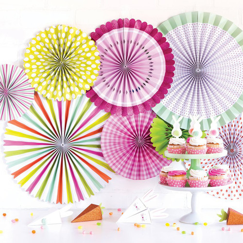 Pastel mix paper party fan decorations for birthday parties, baby showers, Easter and summer parties