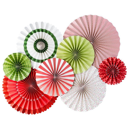 Deluxe Christmas paper party fan decorations in red, green and white