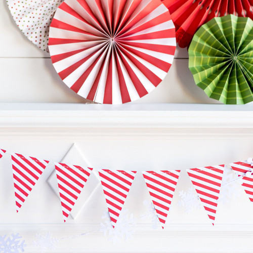 Red and White Striped Christmas Bunting