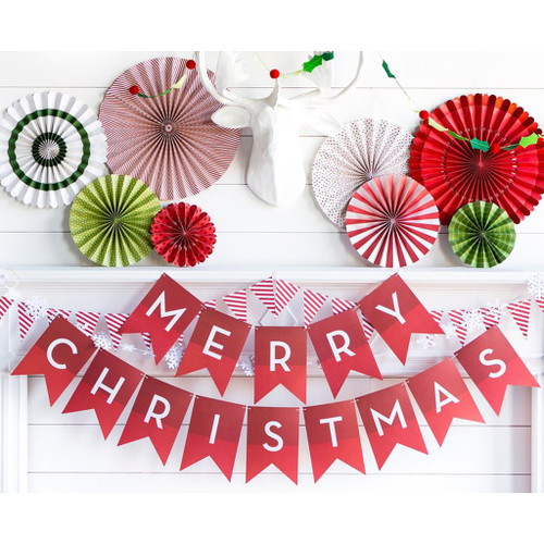 Red Merry Christmas party bunting decoration